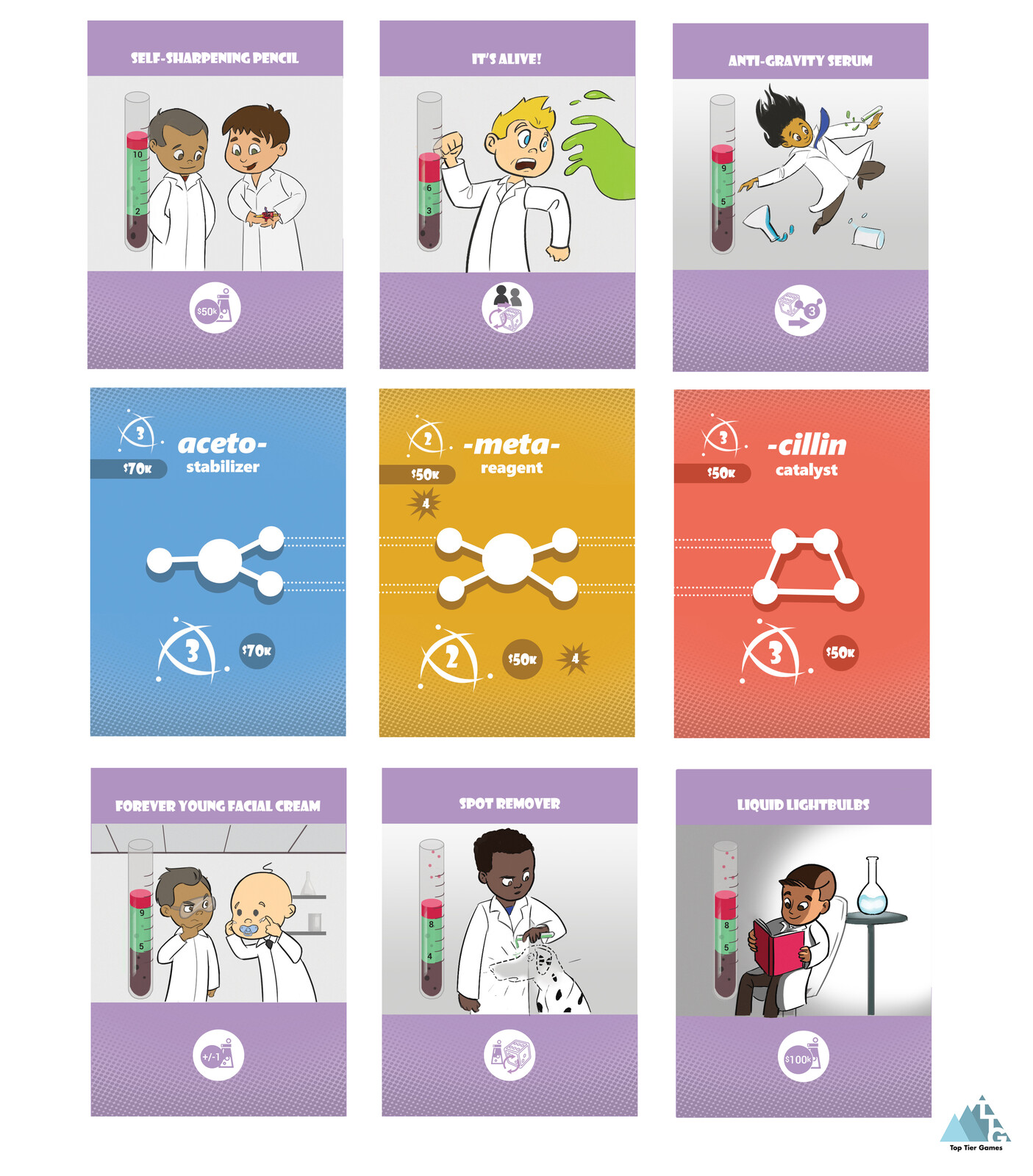 """Card layouts and illustrations for """"Lab Partners"""" by Top Tier Games"""