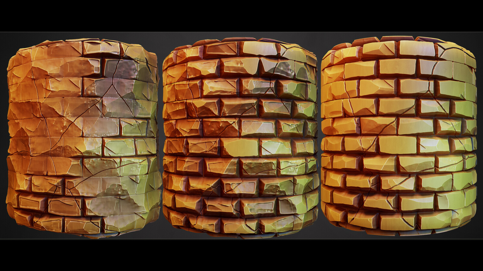One blend node changes the style of the cracked bricks.