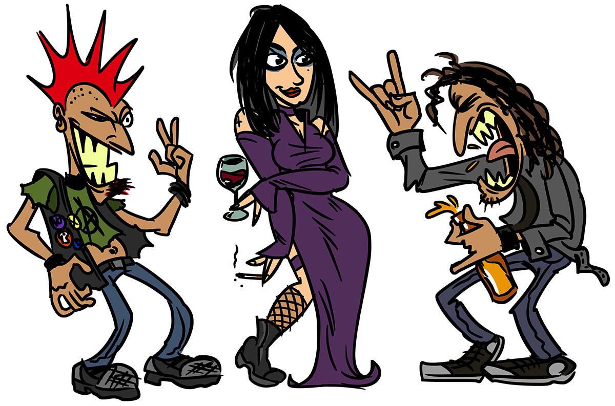 Initial characters (inhabitants of Bairro Alto): punk, goth & metalhead