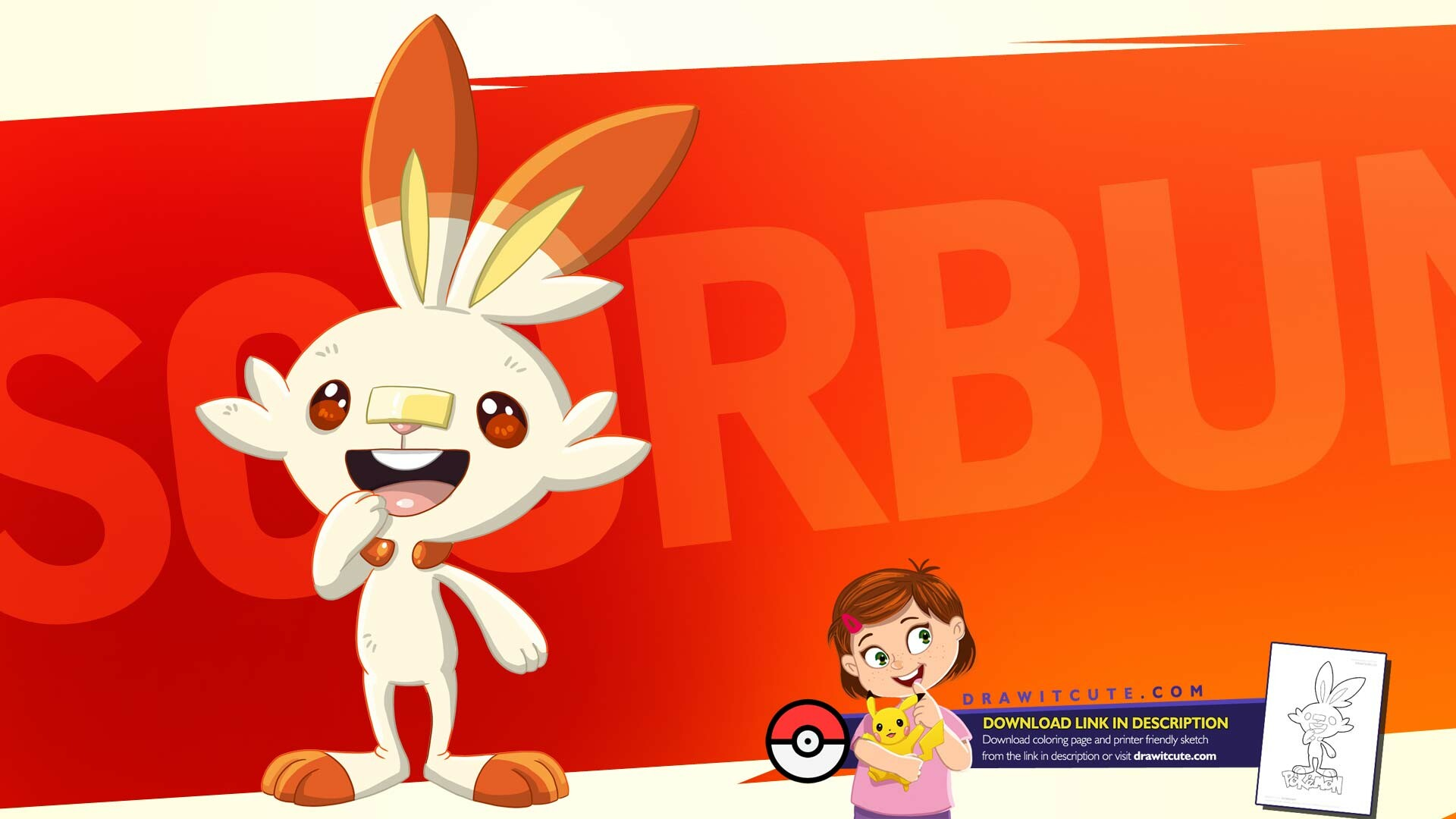 Artstation How To Draw Scorbunny Pokemon Super Easy With Coloring Page Drawitcute Com