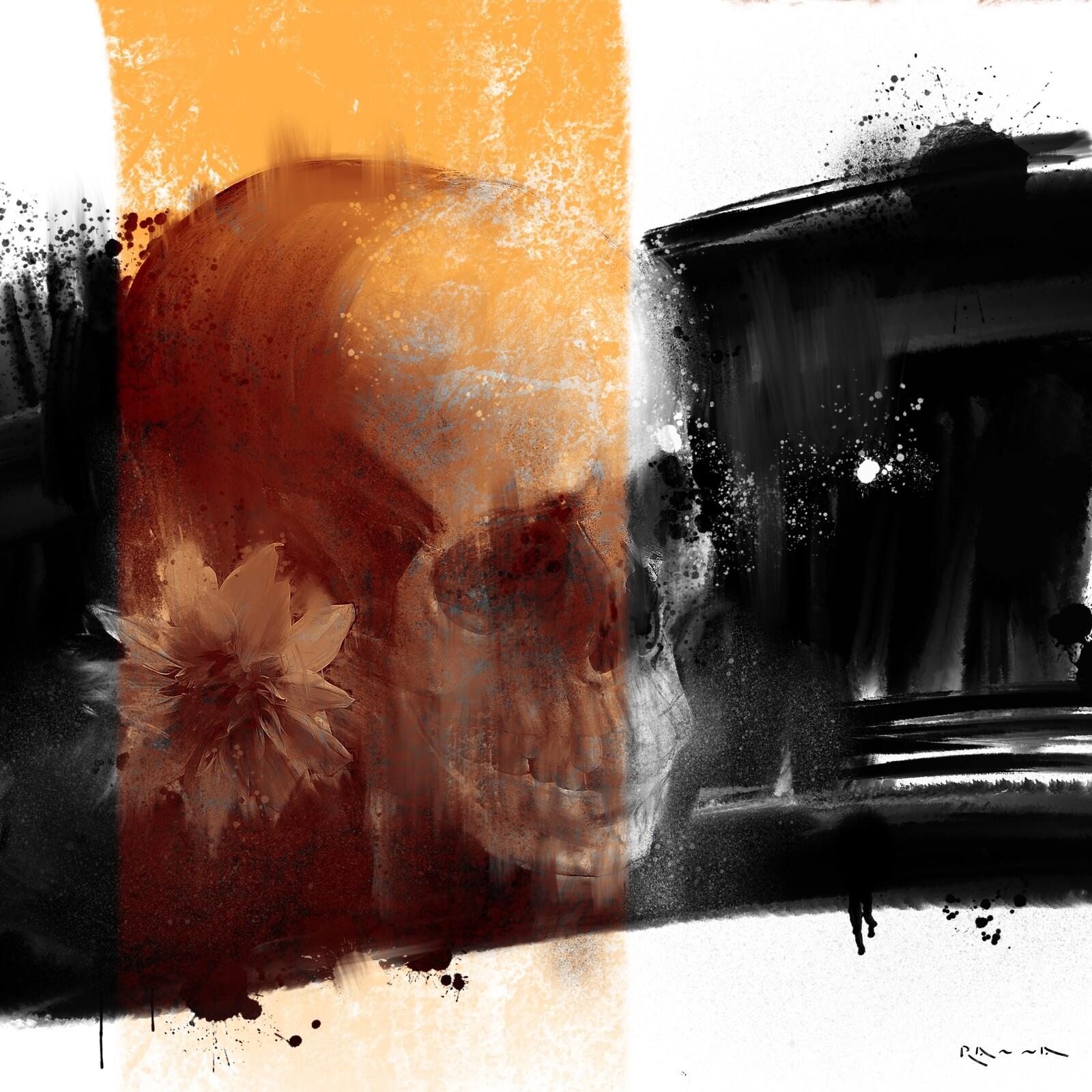Schädel und Blumen 03