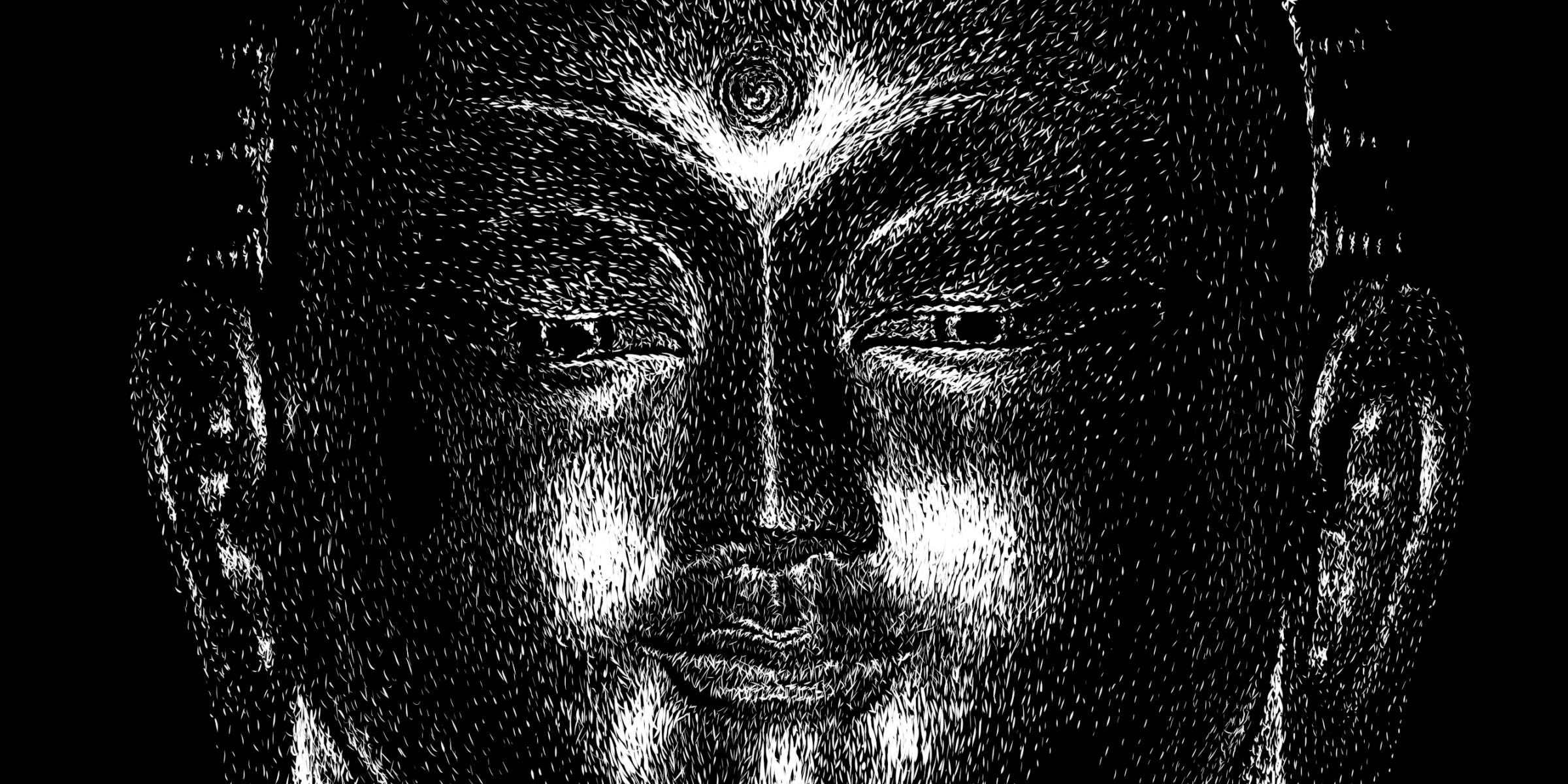 Buddha, face close-up Digital scratchboard, june 2019