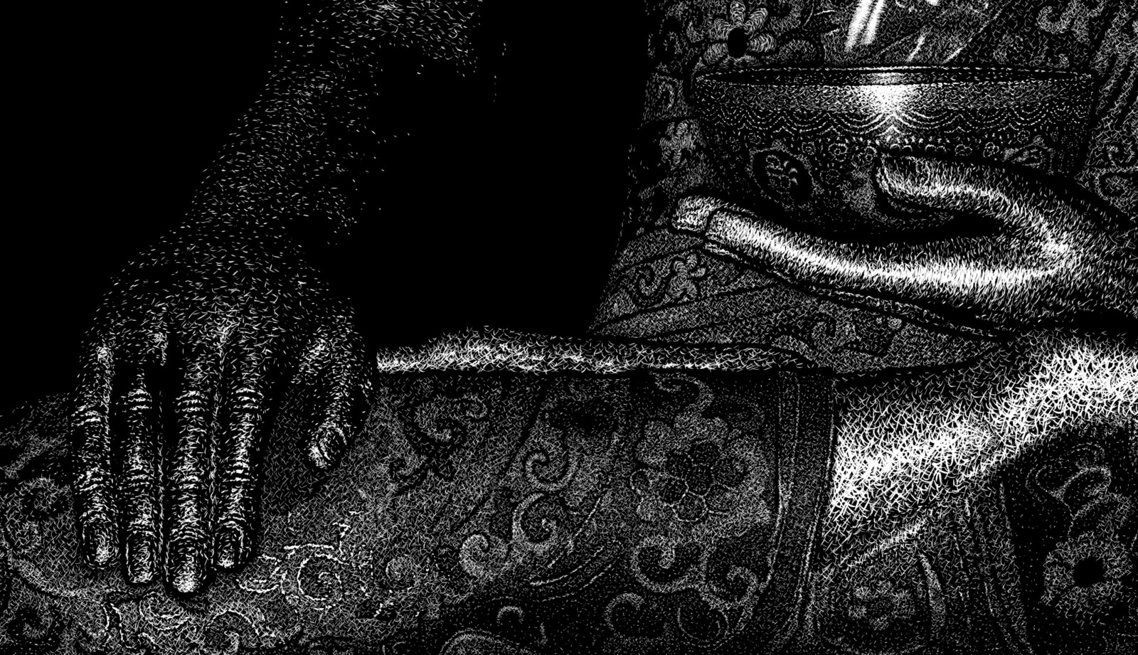 Buddha, hands close-up Digital scratchboard, june 2019