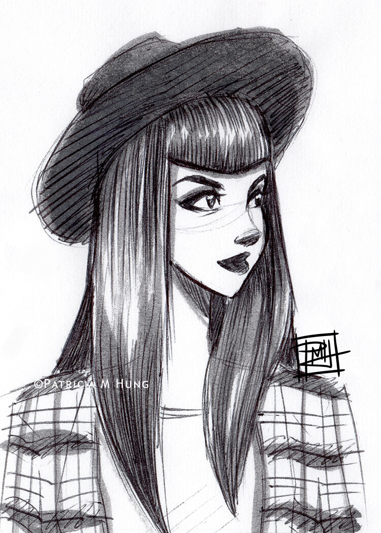 hat and plaid sketch