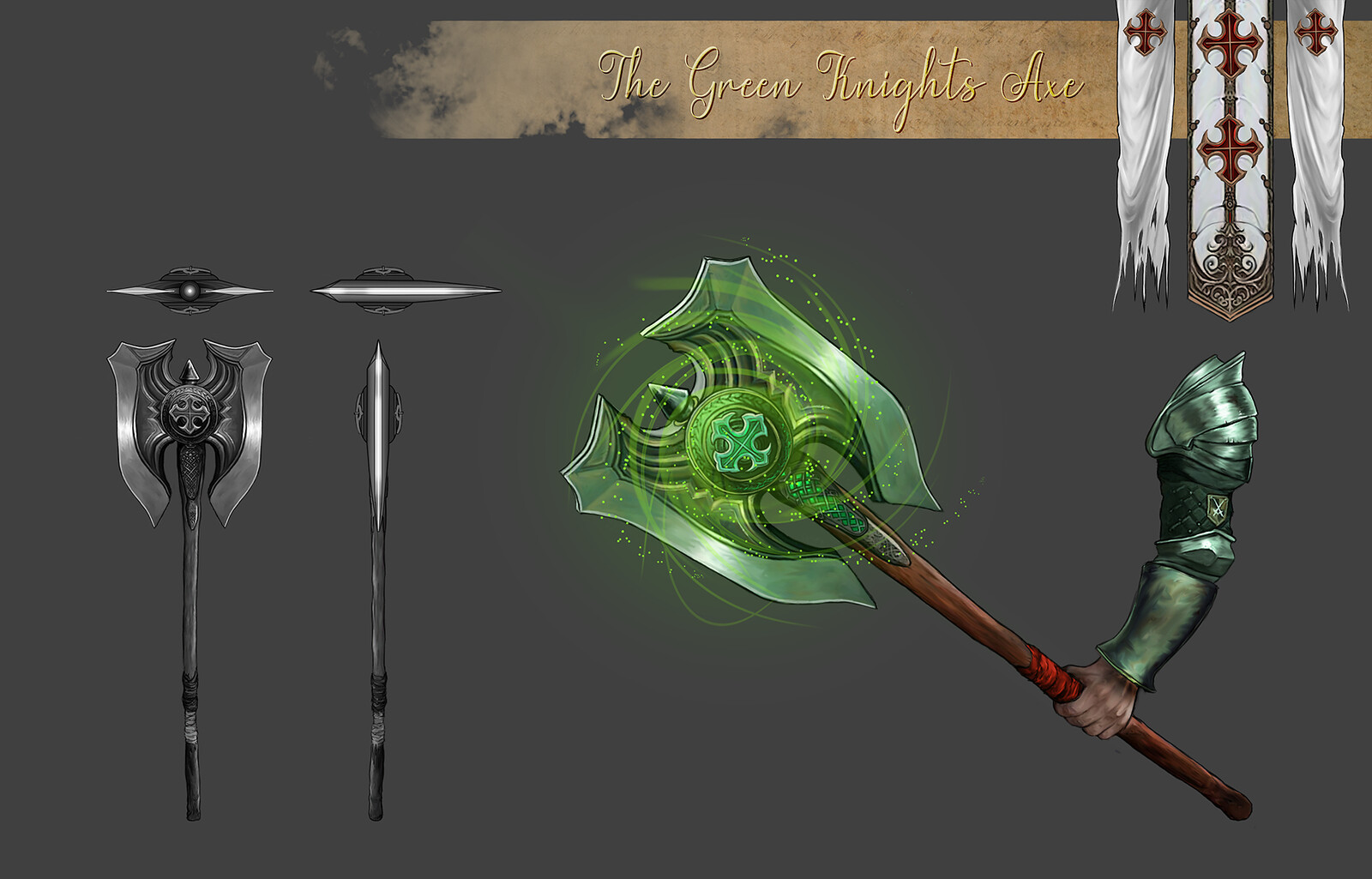 The Green Knight's Axe prop sheet