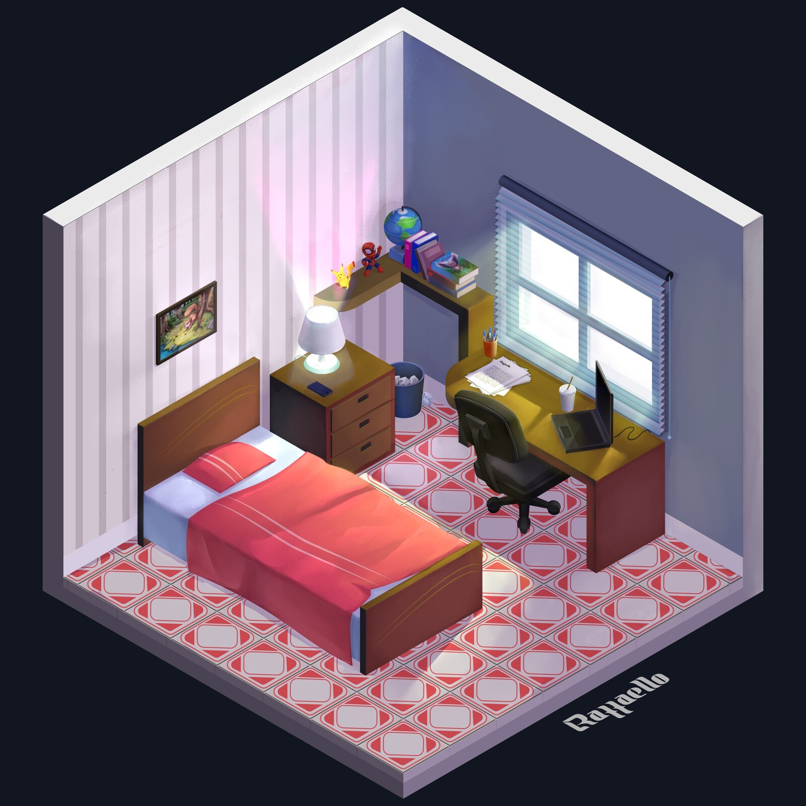 Room - isometric (Procreate - art finished)