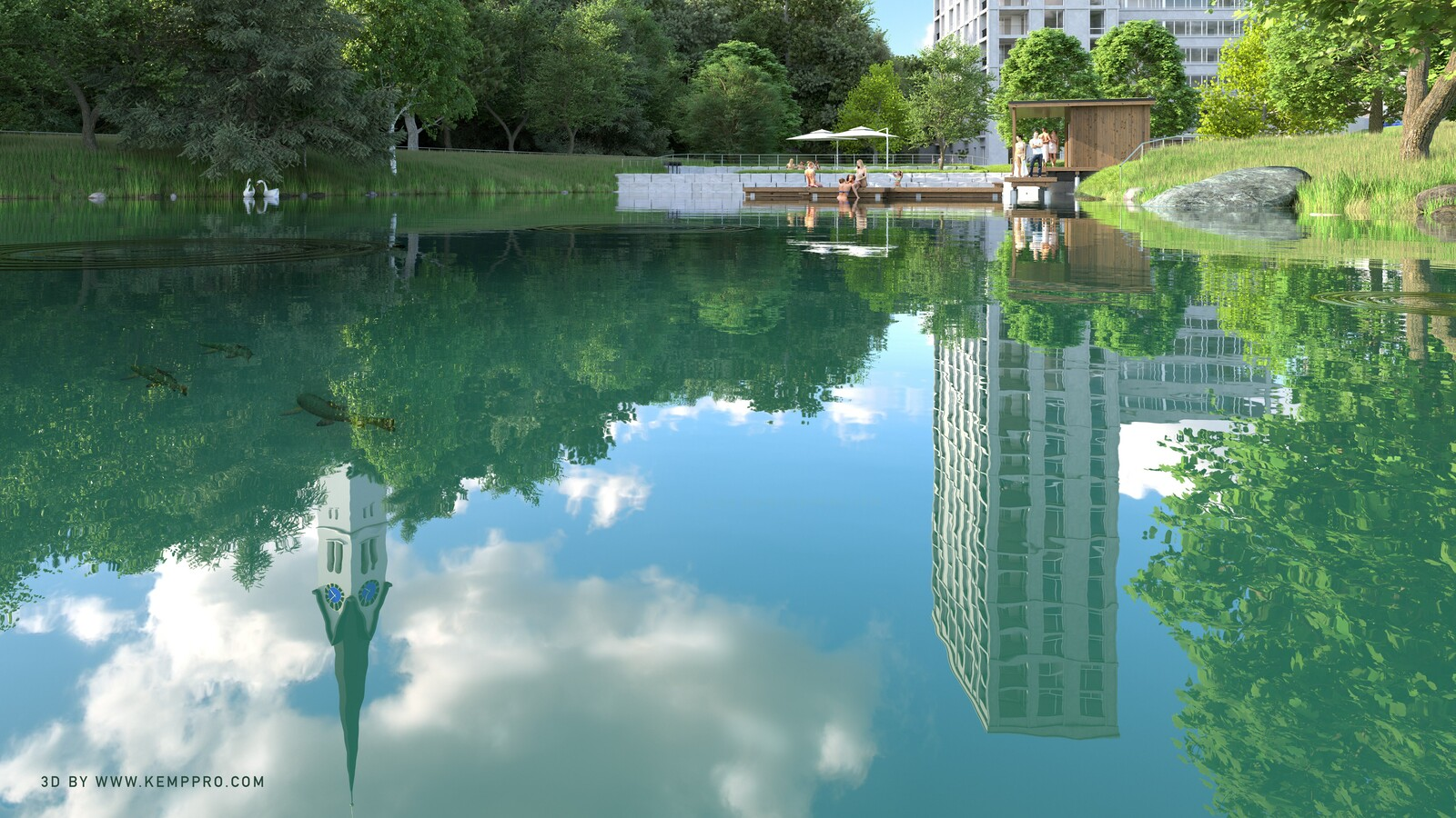 SketchUp 2019 + Thea Render  Terrain morph test 04 -Fish Reflection Final 10h23m40s 5333x3000 1024 s-p MC Bucket 4  Integrated use of Skatter by Lindalë and Laubwerk  HDR by HDRI-SKIES found here: http://hdri-skies.com/shop/hdri-sky-162
