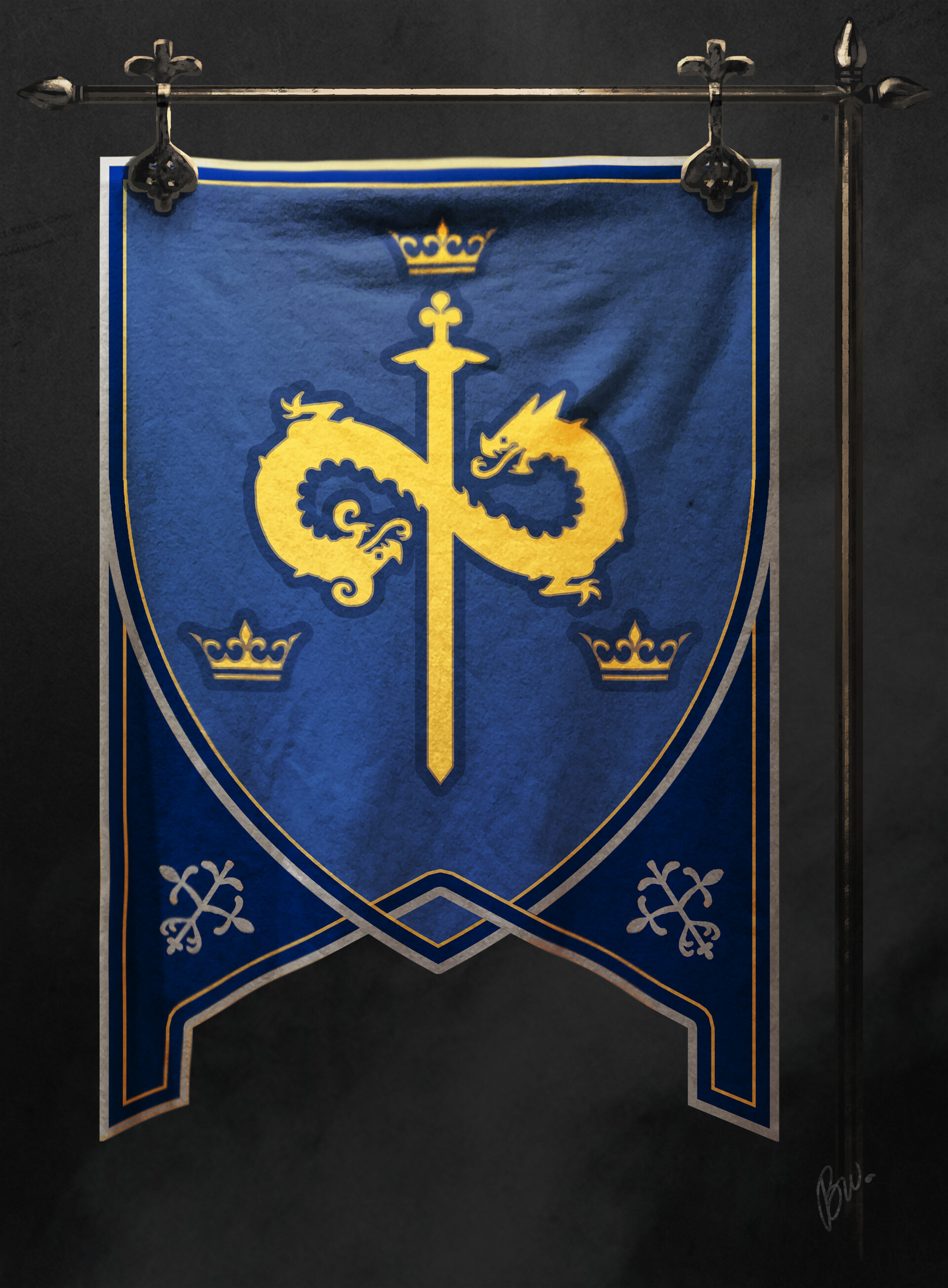 the dragons represent the Pendragon family in the form of an infinity logo (sort of) to represent the Once and Future King over the three kingdoms(crowns) and with excalibur in hand(the sword).