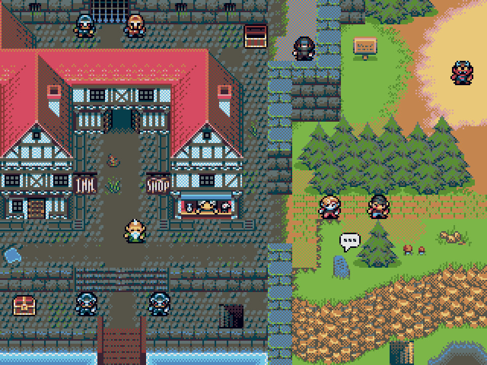 RPG game mock-up, made with the Chip16's 16 colour palette
