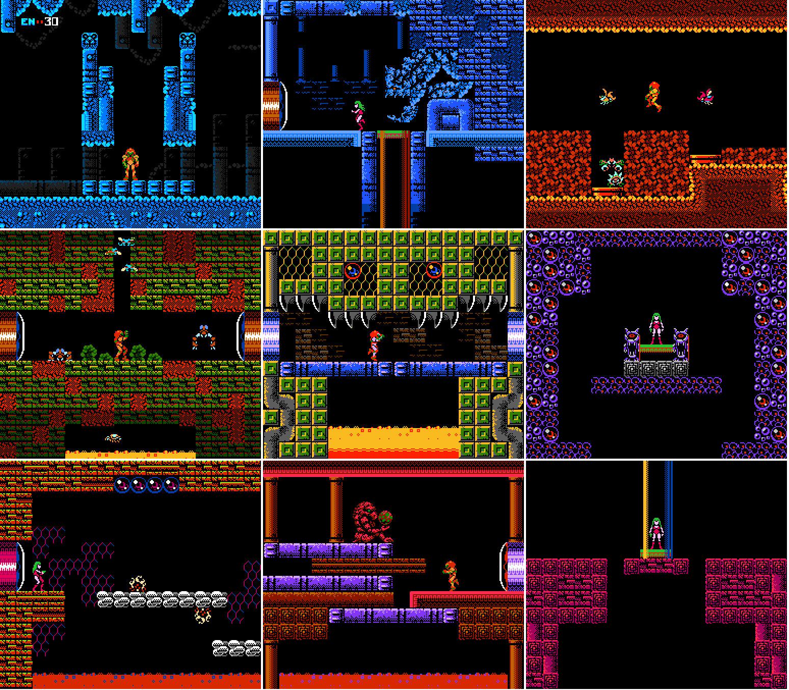 Mosaic of rooms made with my tiles and sprites for the project