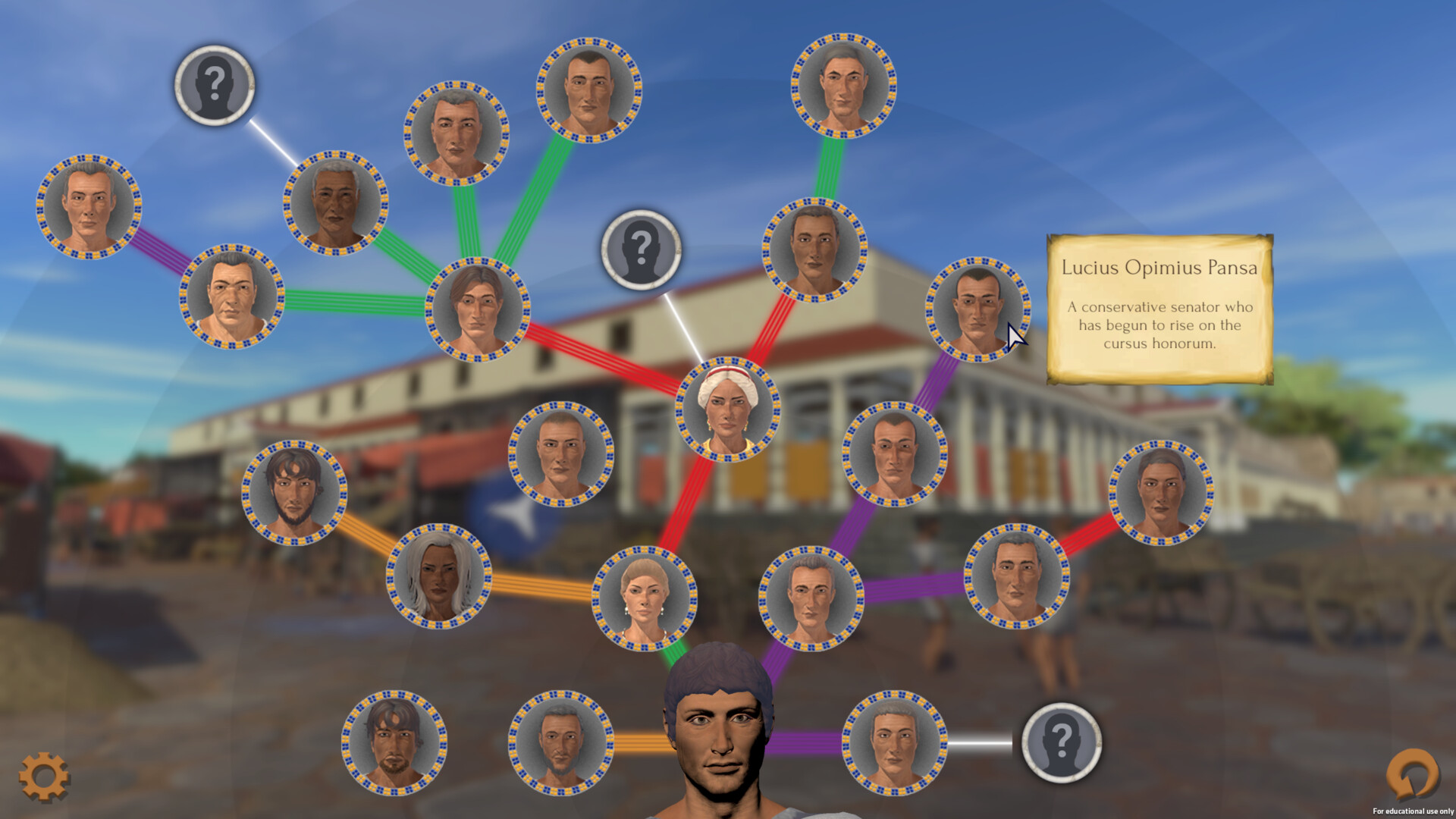 The Catena menu illustrates the relationships between the people the player has met and themselves. It also signals what virtue bonuses the player can gain from completing objectives linked to different characters.