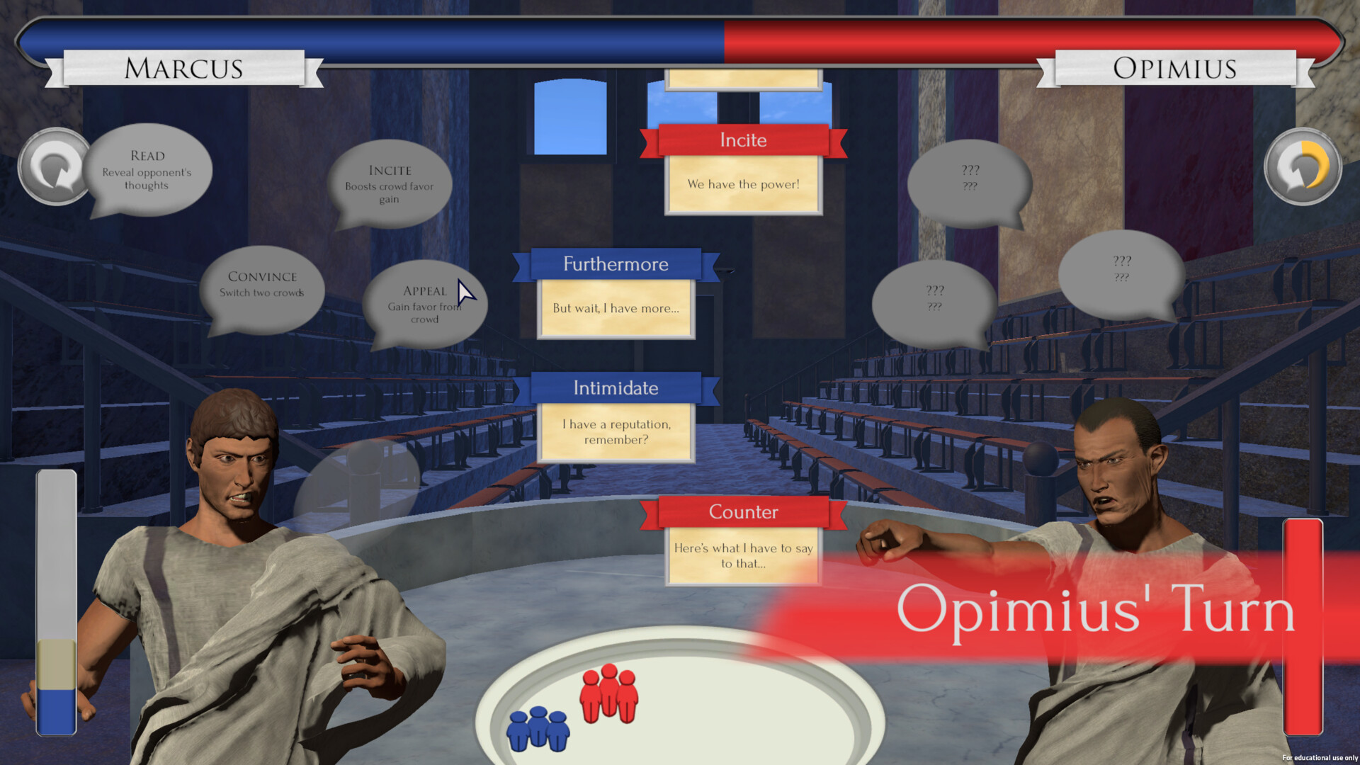 Throughout the game players are required to participate in debates with various Roman figures to engage them further with the historical and political material. This shot is an example of one of those debates, and it's UI.