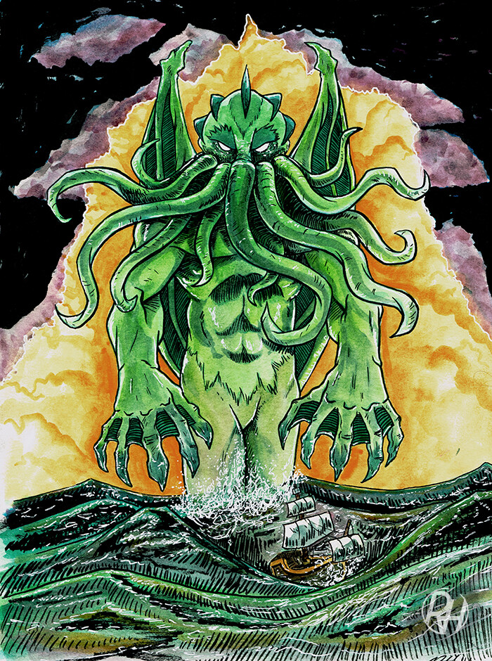 Cthulhu illustration. Done with watercolor and ink.
