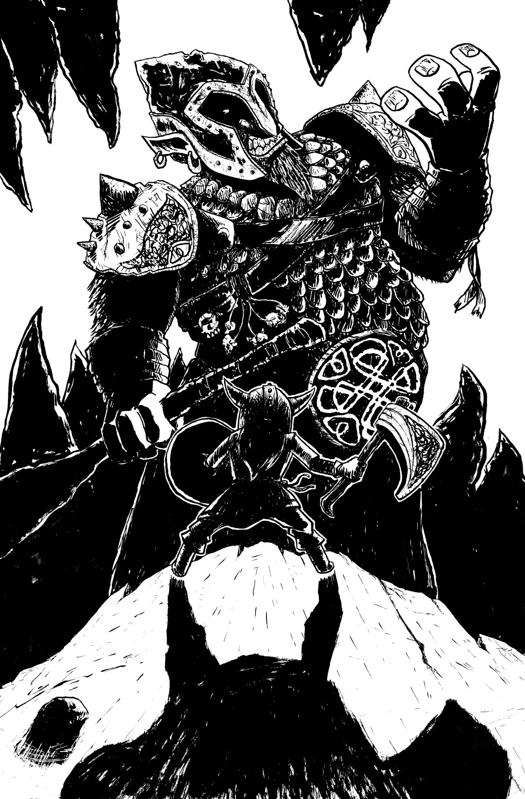 Rune vs. The Troll King. Concept illustration for an upcoming comic written and illustrated by me.