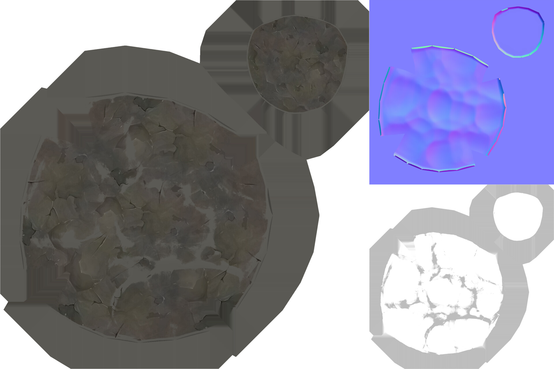 Small rock albedo, normal, and roughness maps
