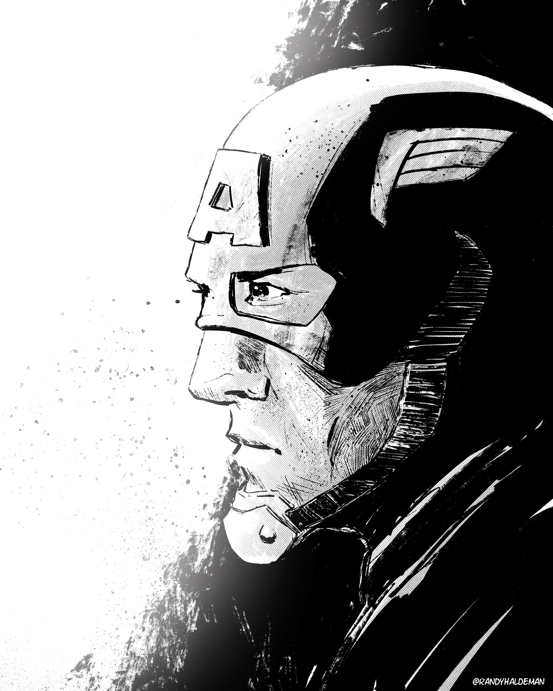 Captain America Black & White