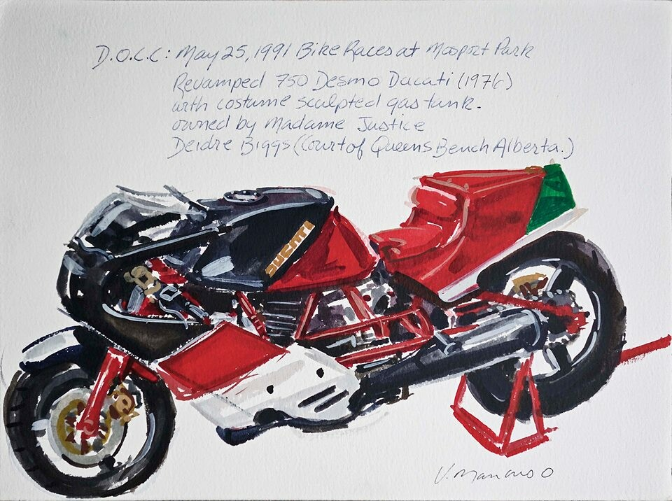 750 Desmo Ducati. Watercolour painting 9x12 inches painted by Vince Mancuso