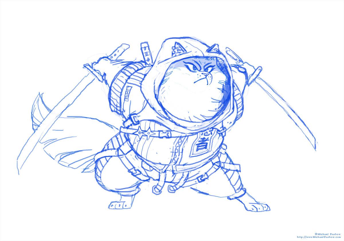 Michael dashow ninjacat maru sketch 1200x843