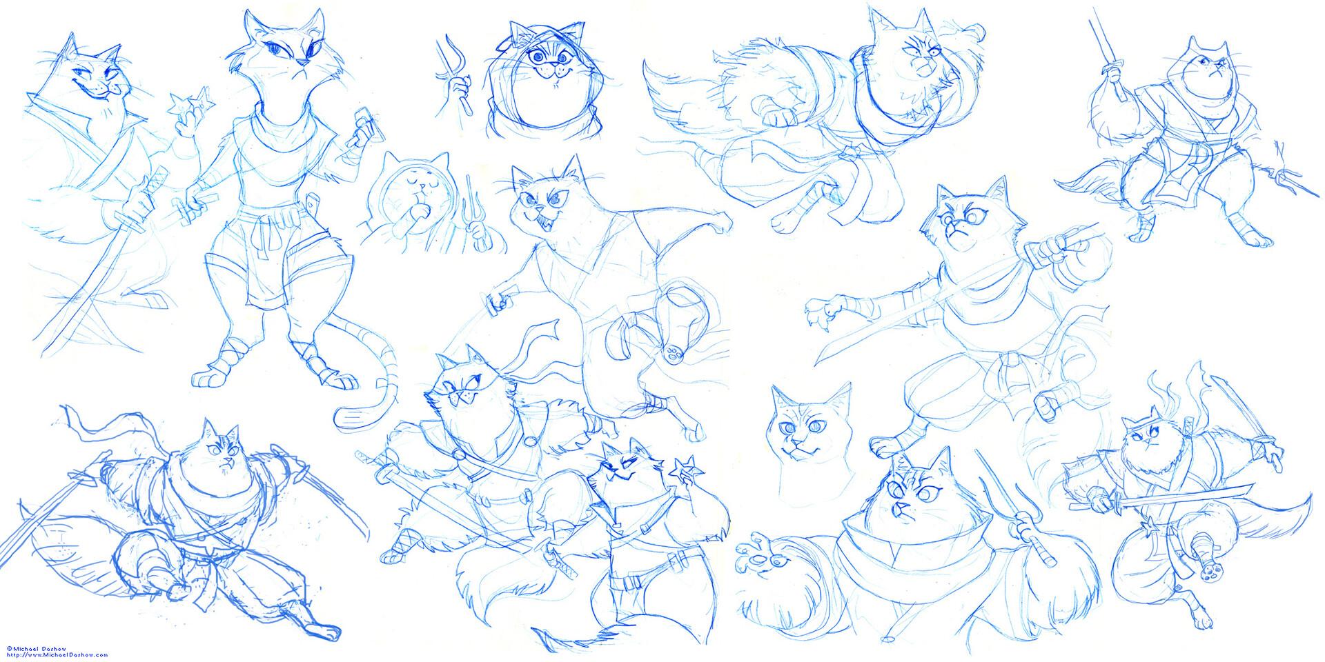 Michael dashow ninja cat 03c d sketches