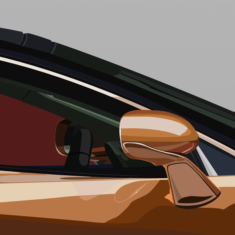Detailed view of the mirrors and part of the car's interior