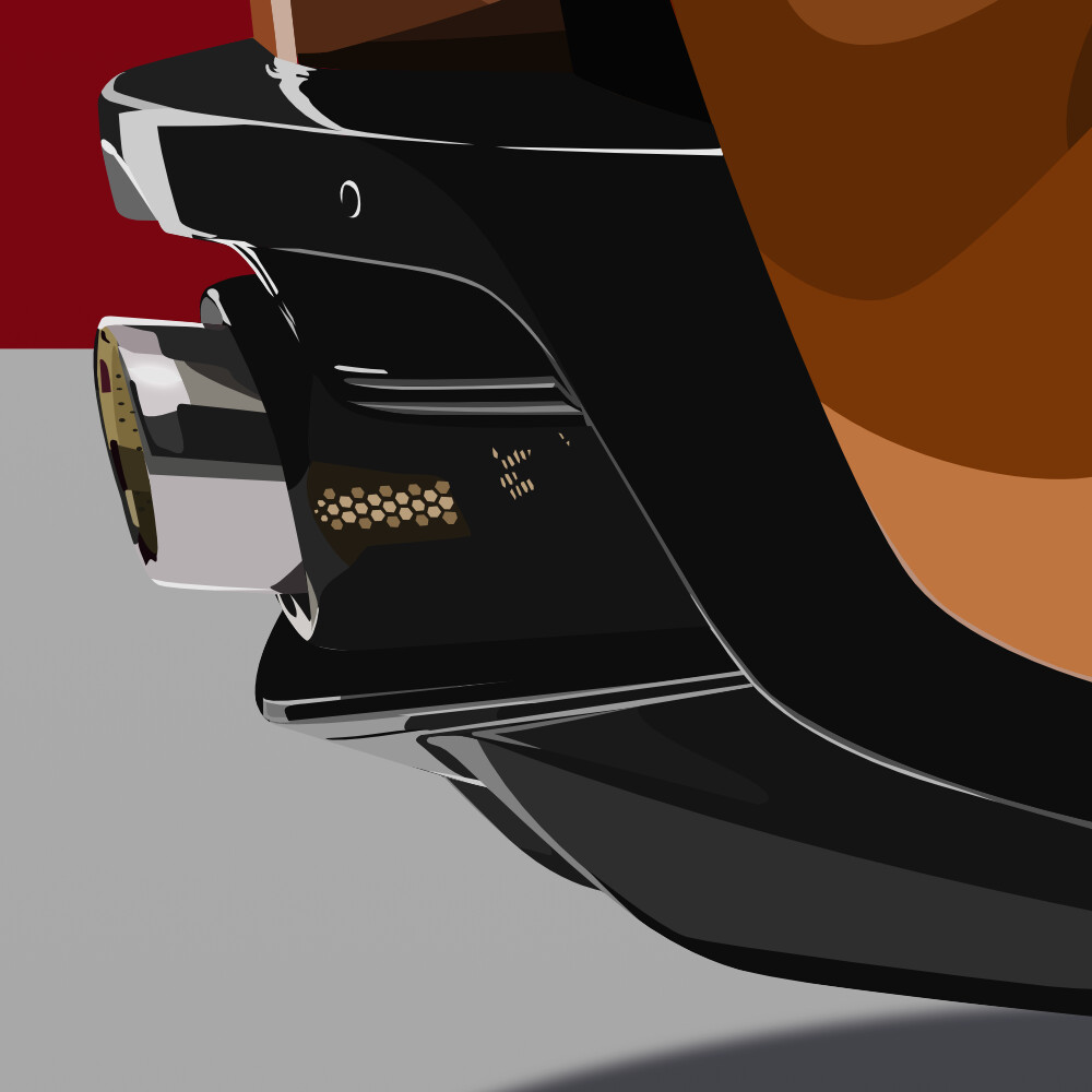 Detailed view of the lower rear part of the car, with emphasis on the detailed exhaust and rear bumper