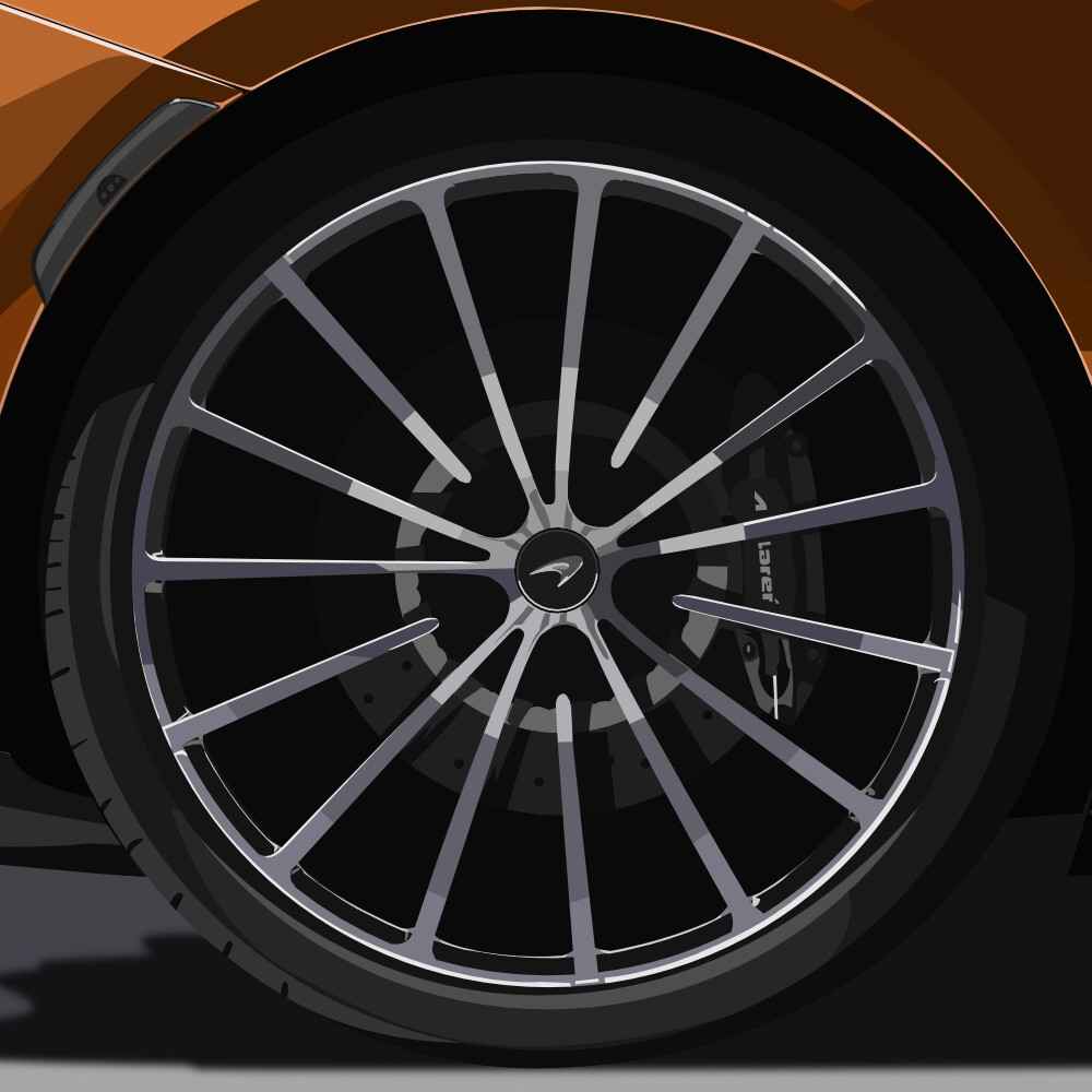 Detailed view of the rear wheel of the car, with emphasis on the details of the tyre, rim and the interior, with the brakes (caliper and disc)