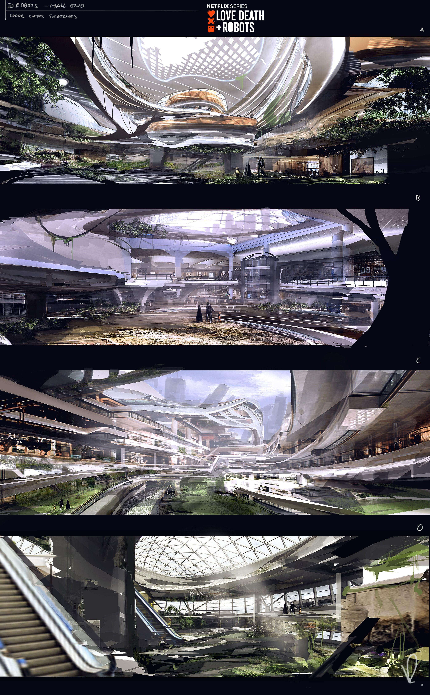 Mall bigger view interior concept sketch