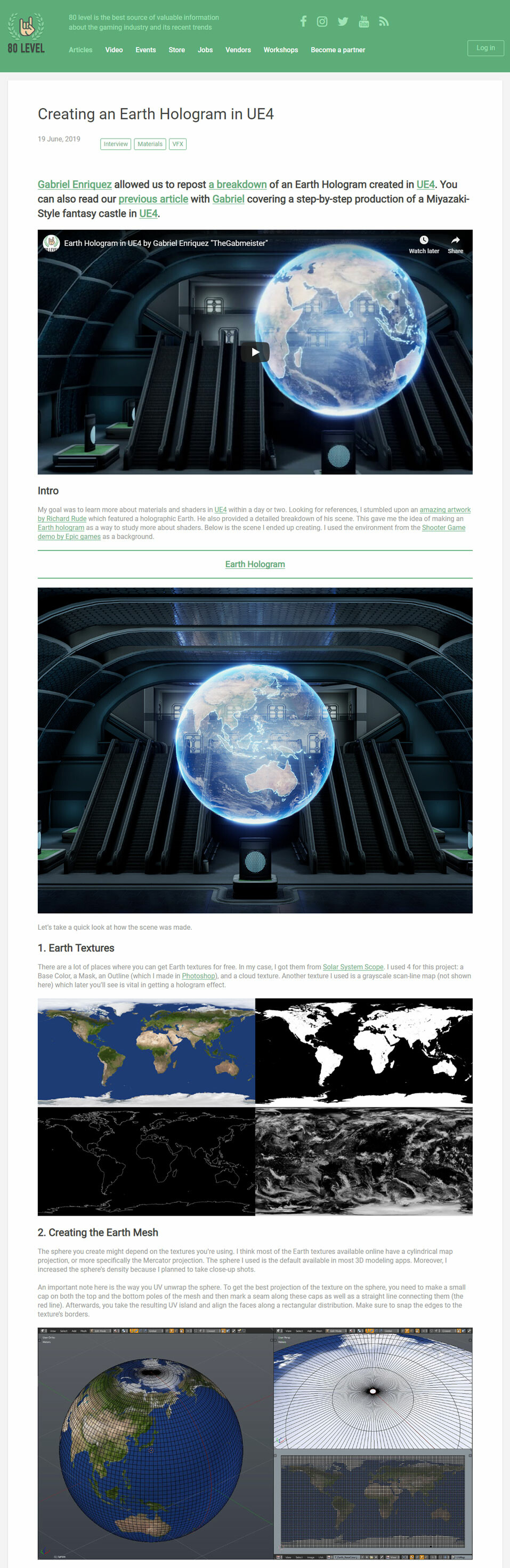 ArtStation - 80 Level Interview - Creating an Earth Hologram