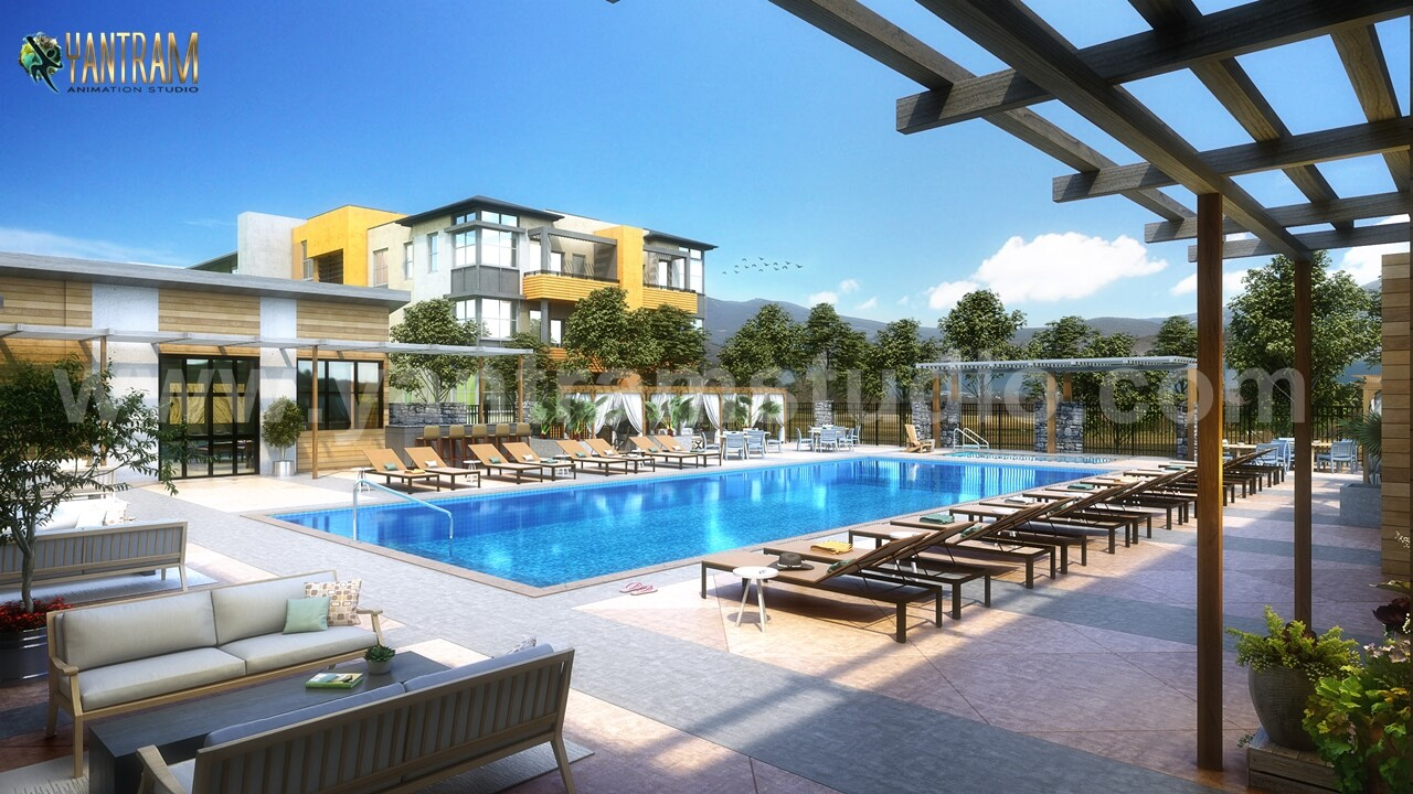 ArtStation - Contemporary Courtyard Pool View of