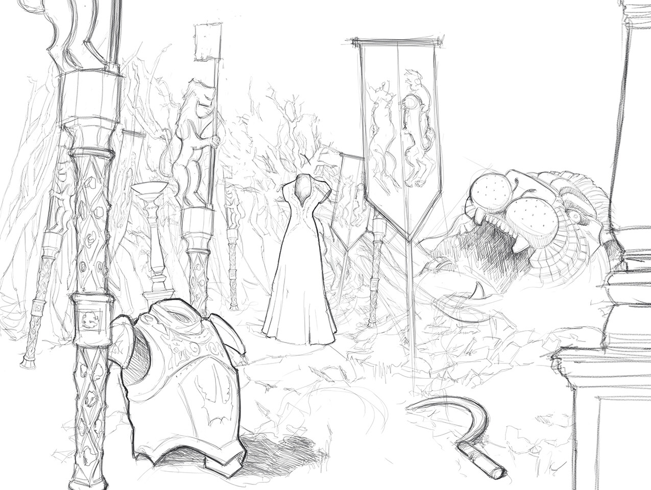 Work in progress leading to the final scene