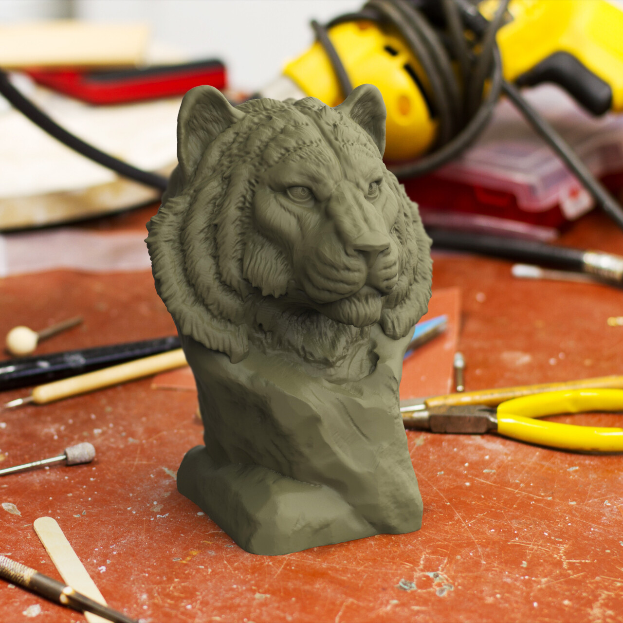 photograph about Printable Tiger Pictures identified as ArtStation - 3d Printable Tiger Sculpture, Sebastiano Di Grazia