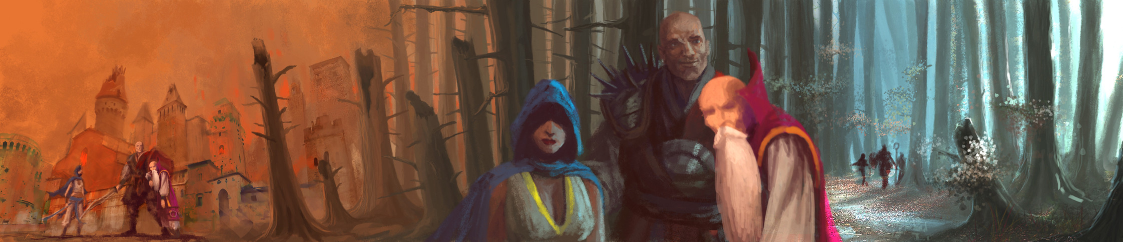 Environment digital painting for the game Crimson Alliance. (Characters are by another artist)