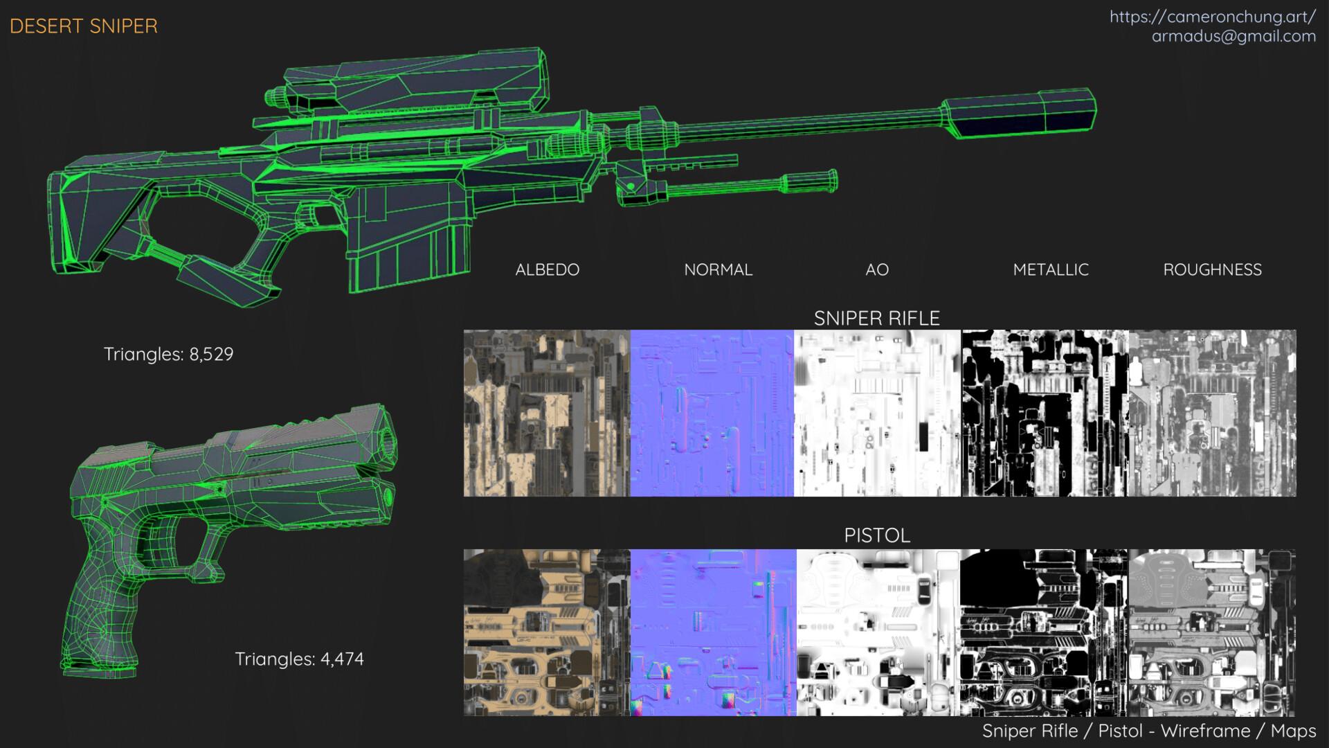 Sniper Rifle / Pistol - Wireframe / Maps