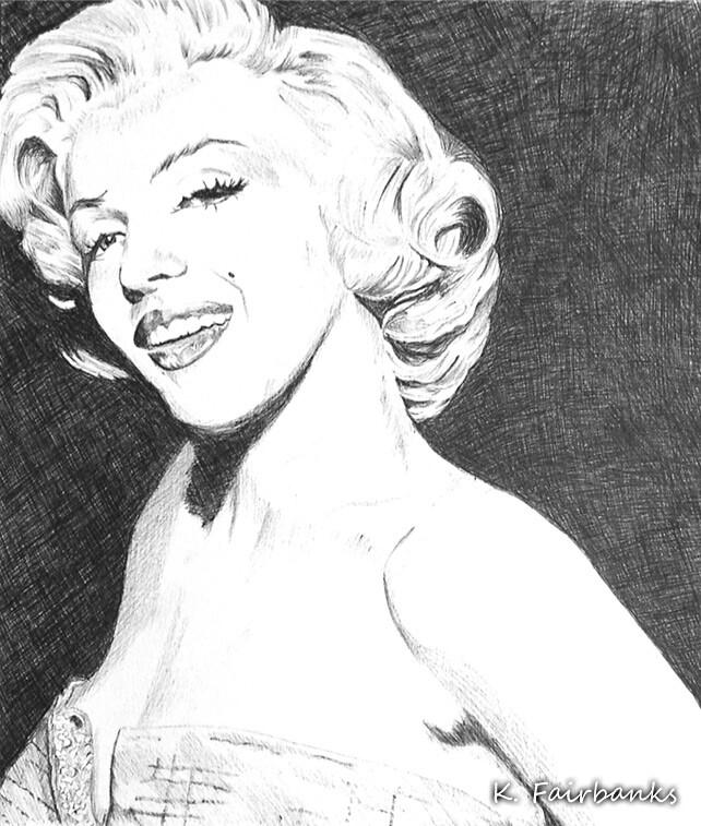 Marilyn Monroe, ball point pen drawing by K. Fairbanks