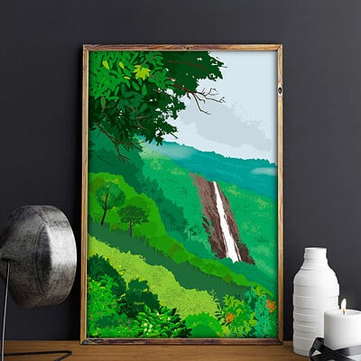 Rajesh r sawant waterfall in mountains mockup