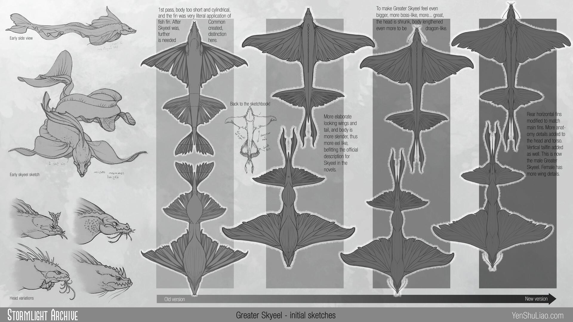 Yen shu liao stormlightarchive skyeel greater creature concept sketch yen shu liao