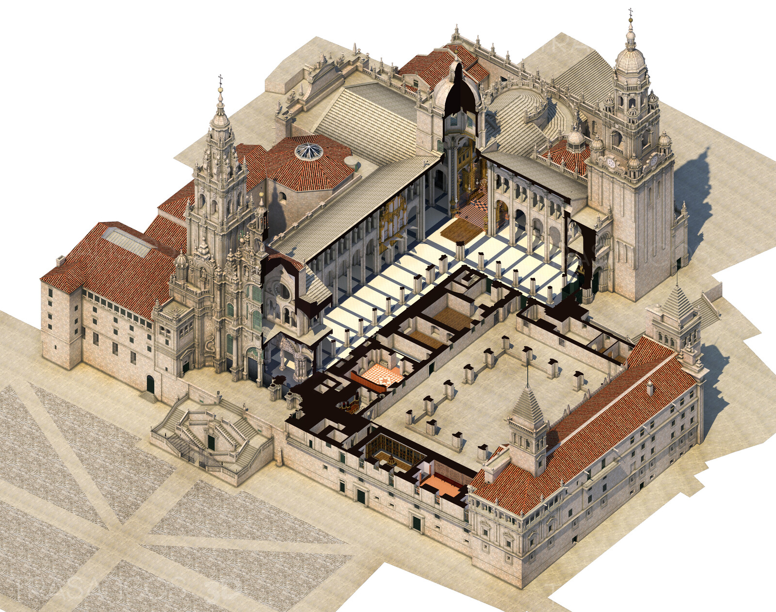 3D illustration. Cut Away. Section showing the interior of the cathedral complex including the cloister and the attached chapels.
