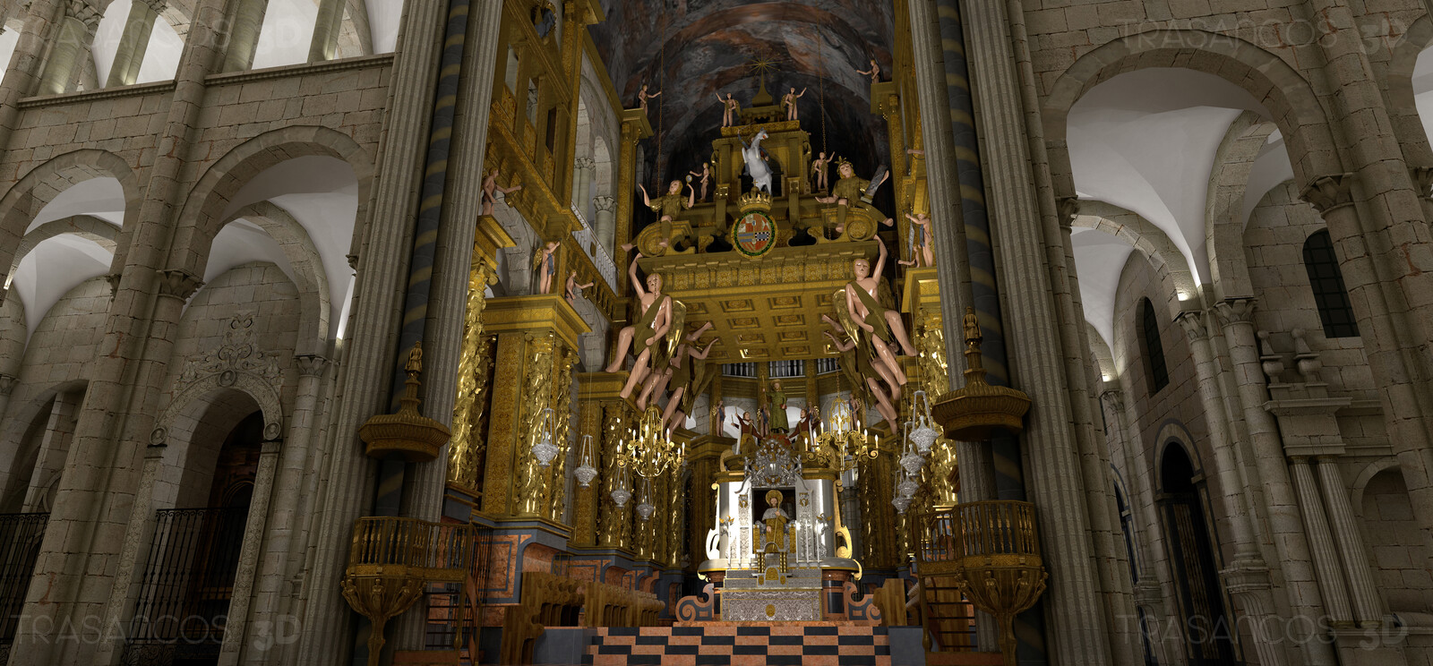 3D illustration. Interior. Main altar of the cathedral.