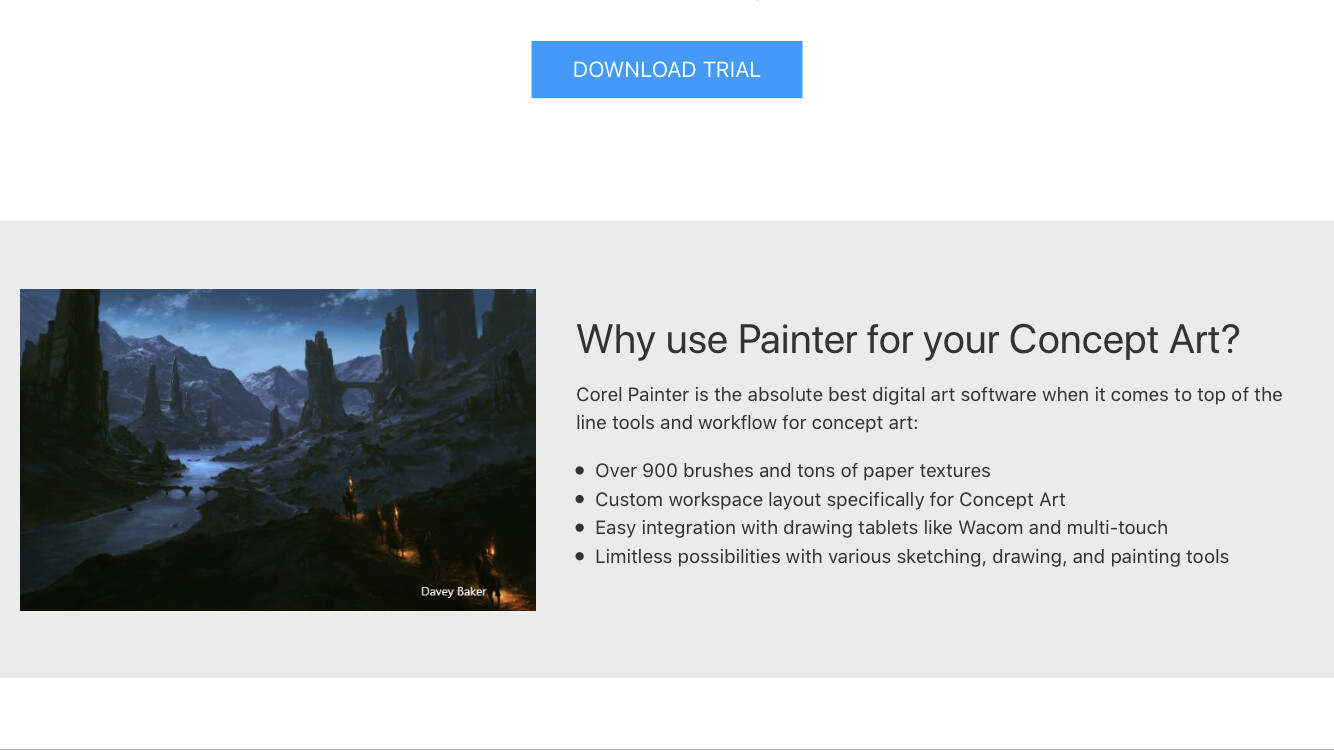 Corel Painter 20/20 website 