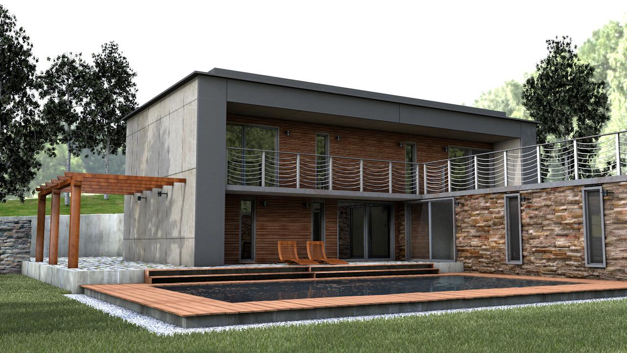 Artstation Architectural Modern Home Created In Cinema 4d Ron Watson