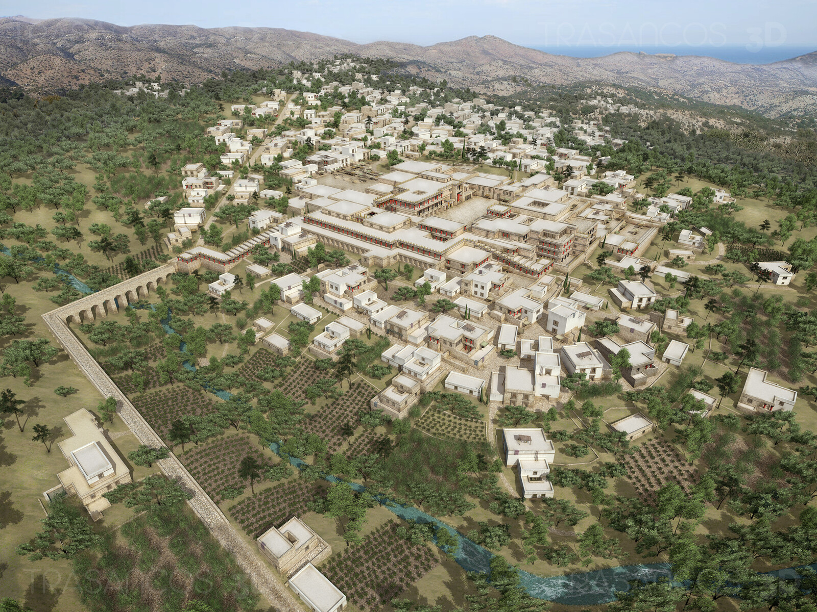 View of the City of Cnossos, with the palace in the middle. Modeled in collaboration with: - Andrés Armesto - Alejandro Soriano - Carlos Paz - Diego Blanco