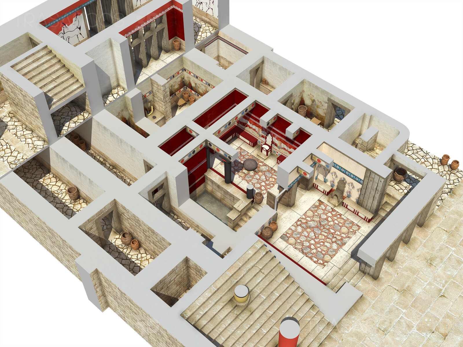 Cut away showing the interior area of the Throne Room of the Palace of Cnossos. Modeled in collaboration with: - Diego Blanco