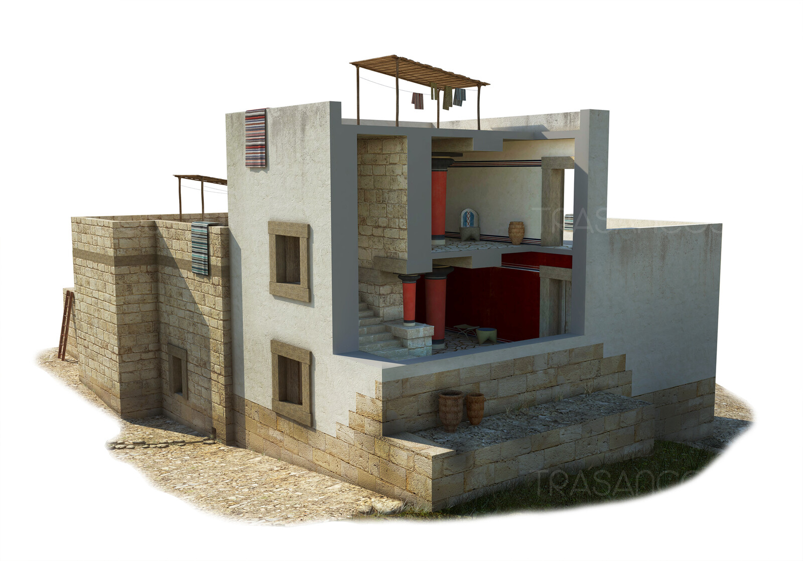 Cut away of the reconstruction of the South House in Cnossos. Modeled in collaboration with: - Diego Blanco