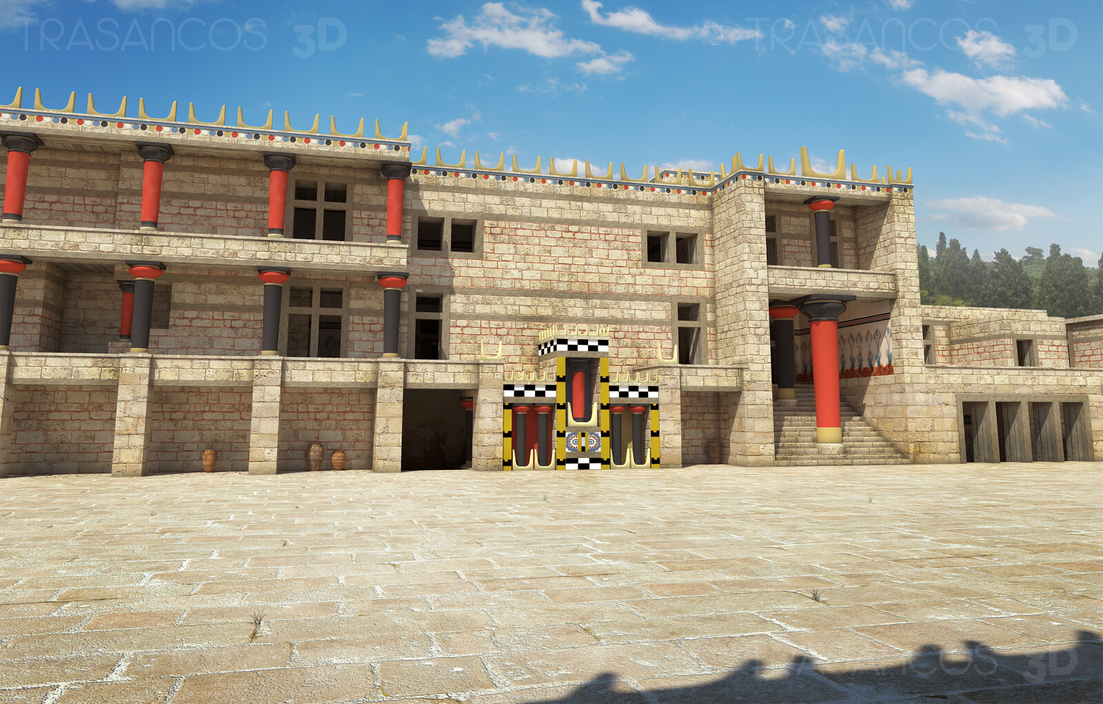 Reconstruction of the main patio of the Palace of Cnossos.