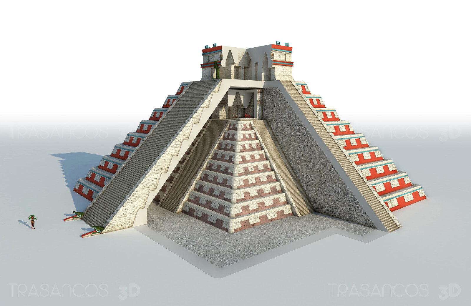 Cut away of Kukukan pyramid or 'El Castillo' in Chichen Itza, showing the ancient inner temple. Modeled in collaboration with: - Andrés Armesto