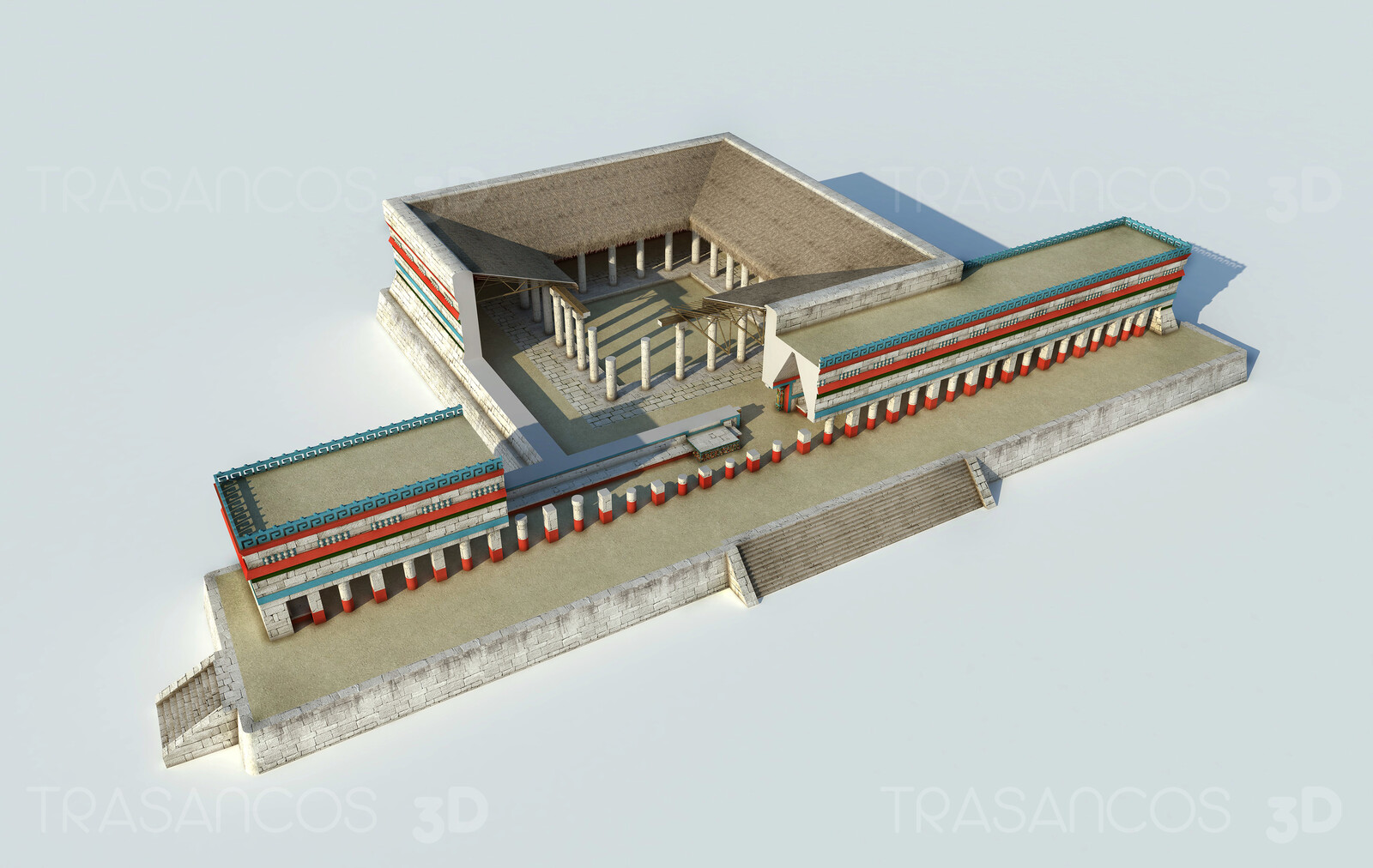 Cut away of the reconstructed mayan market of Chichen Itza. Modeled in collaboration with: - Carlos Paz