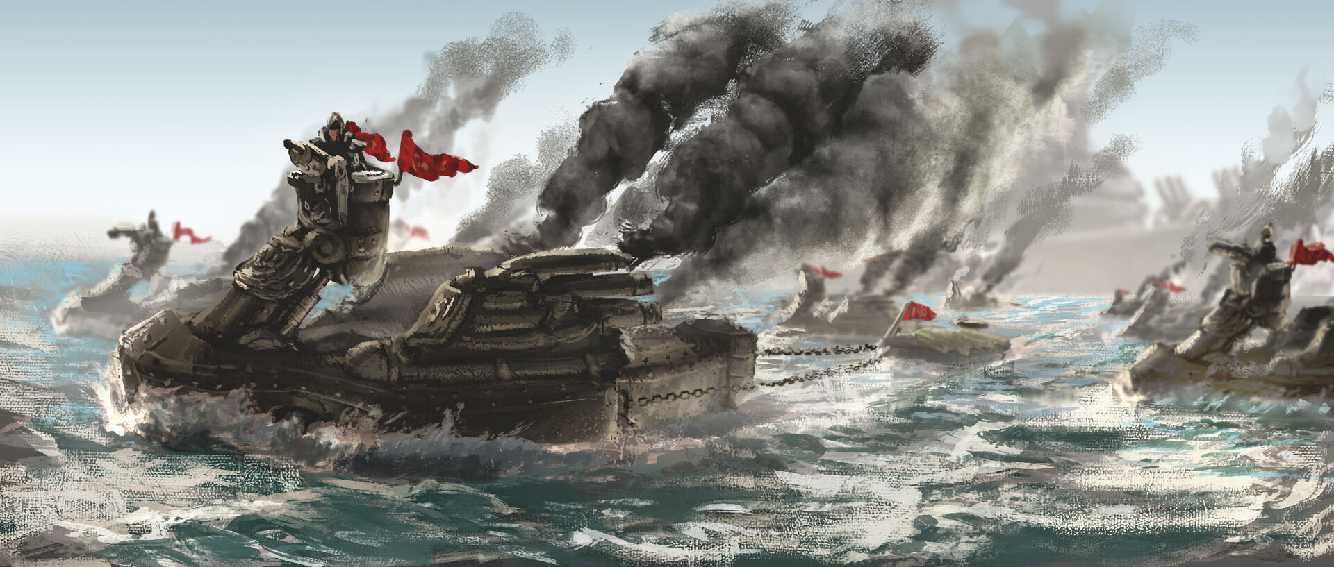 Technique Test: Amphibious Steamtanks  Last Saturday morning was just perfect for another stab at my paintifying technique. This one leaned on the recent photo study 'Flotilla'.