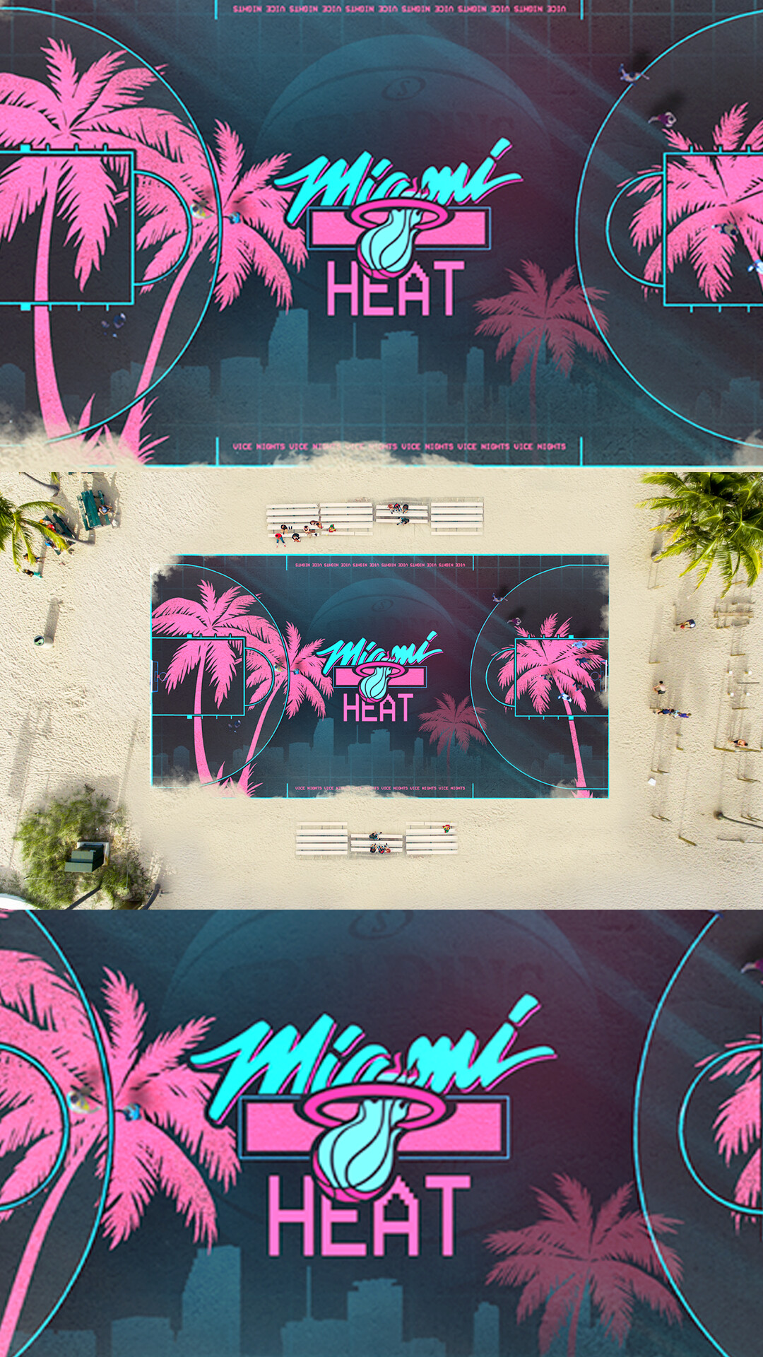 Artstation Miami Vice Heat Basketball Court Terry Soleilhac