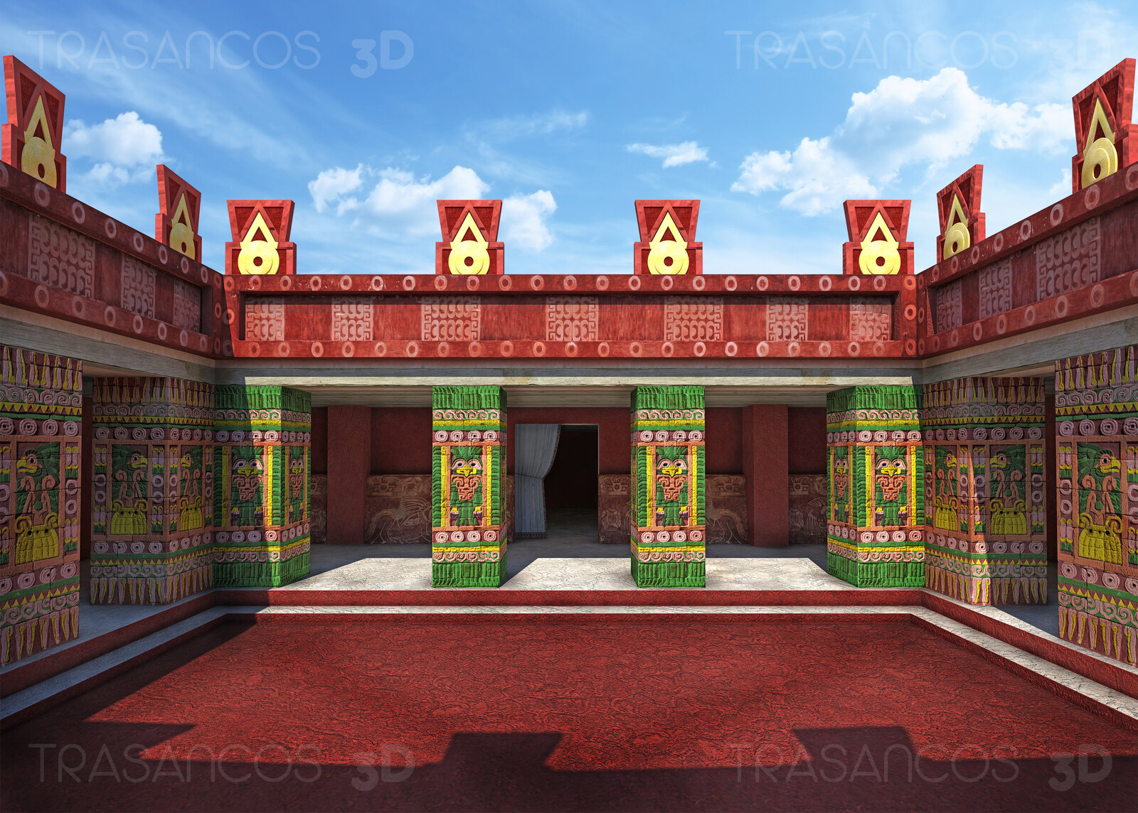 Inner patio of Quetzalpapalotl palace in Tehotihuacan. Modeled in collaboration with: - Diego Blanco