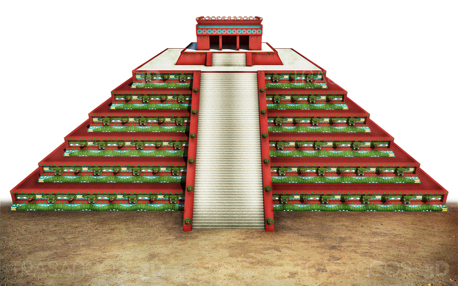 Pyramid of the Feathered Serpent in Tehotihuacan. Modeled in collaboration with: - Alejandro Soriano